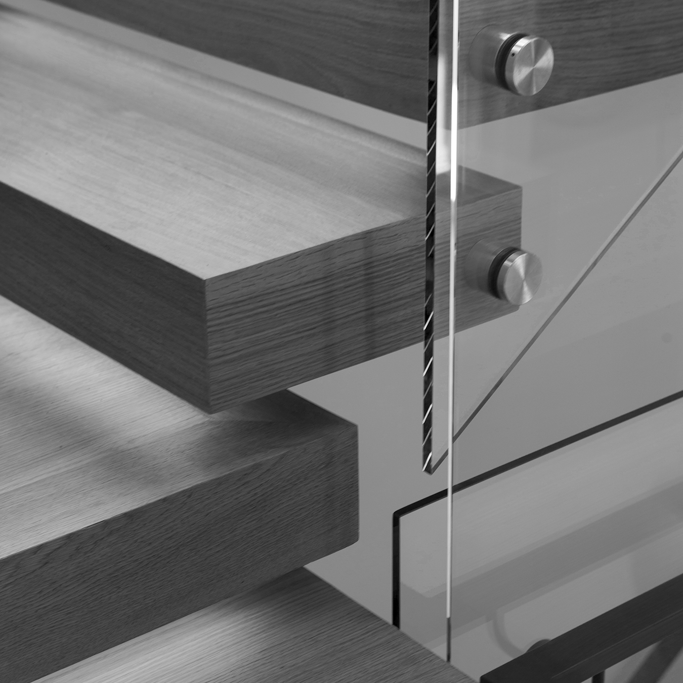 Residence 2750 Cantilevered Stair Detail Black and White
