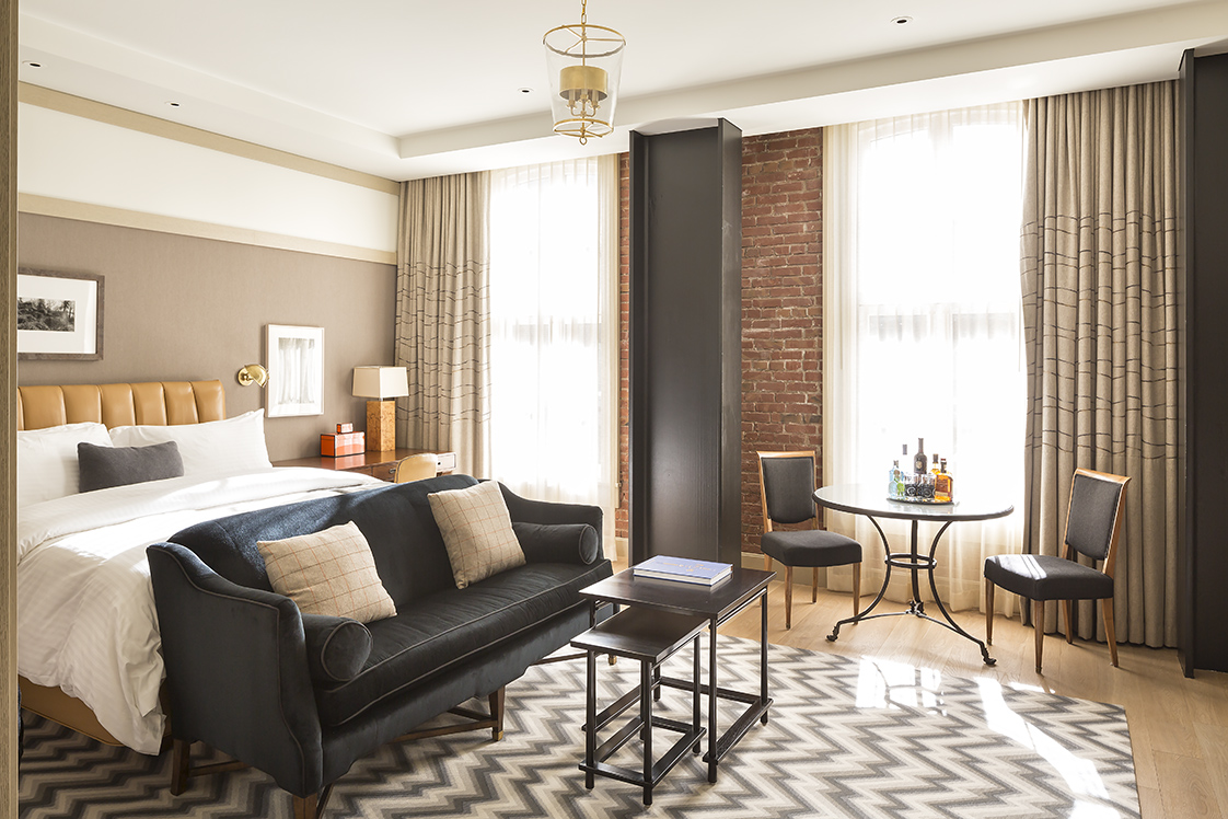 The Battery San Francisco Bedroom with Exposed Brick
