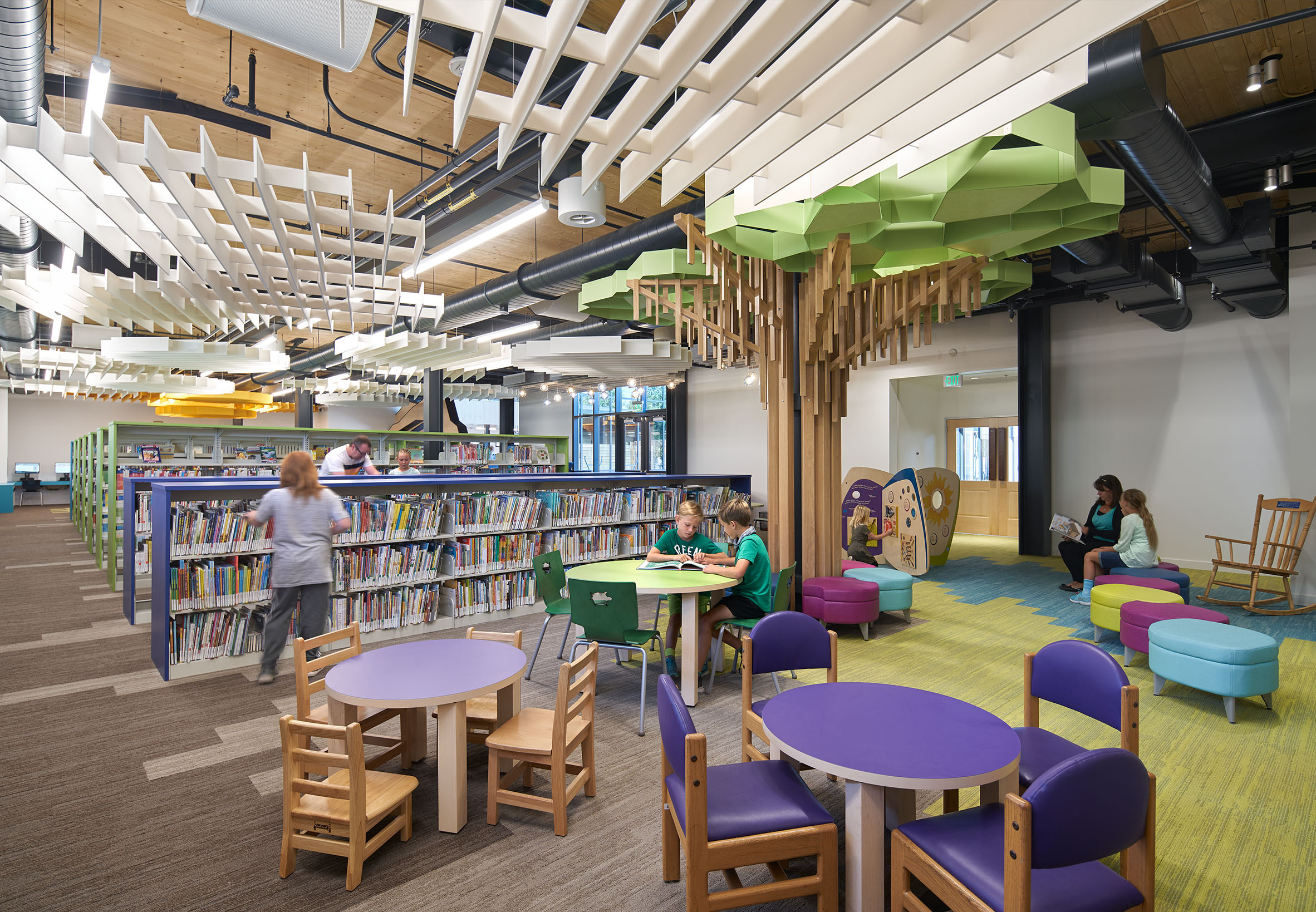Brentwood Public Library Interior with kids. books and CLT Diaphragm