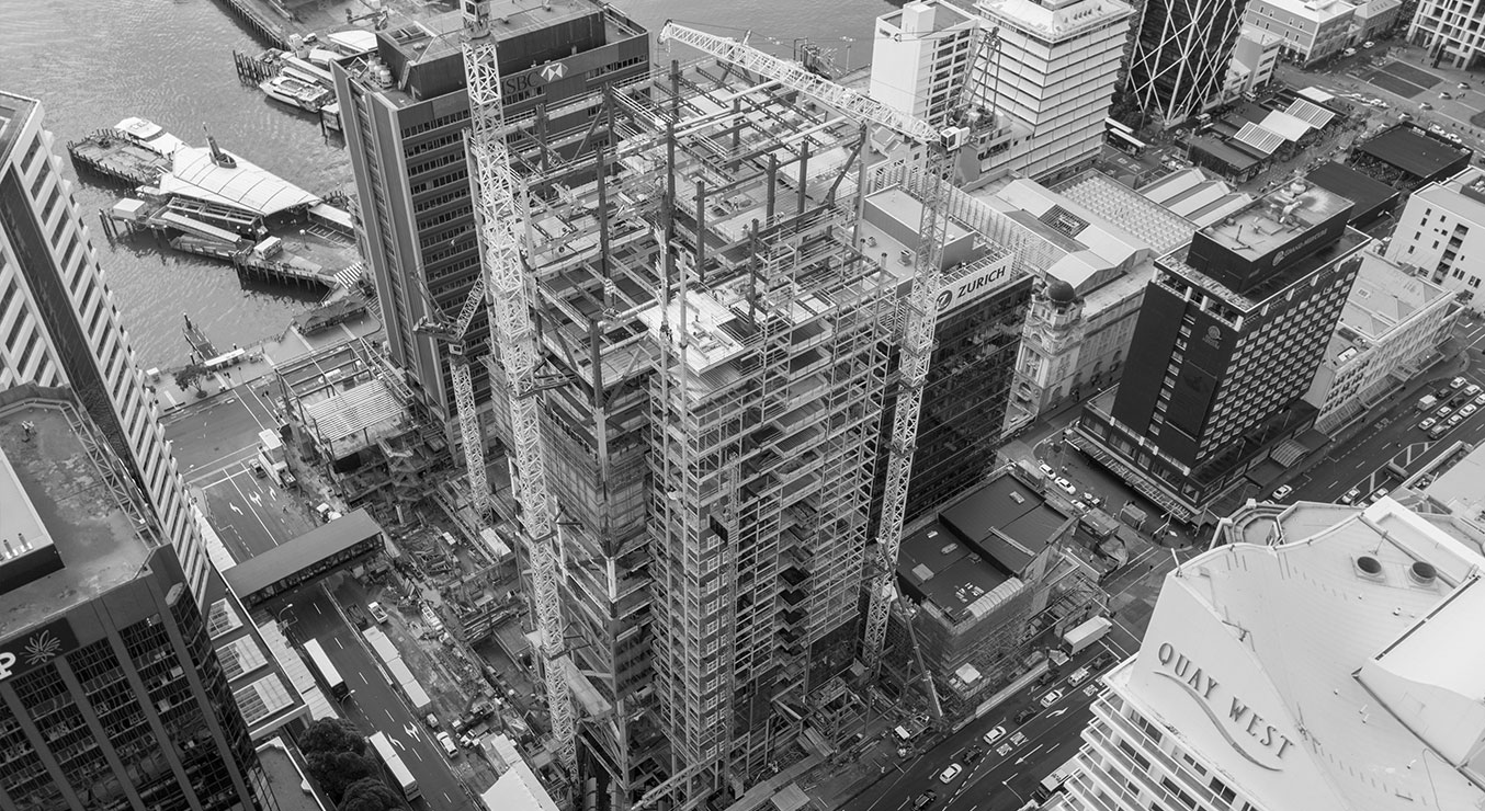 Aerial shot of Skyscraper Commercial Bay Under Construction