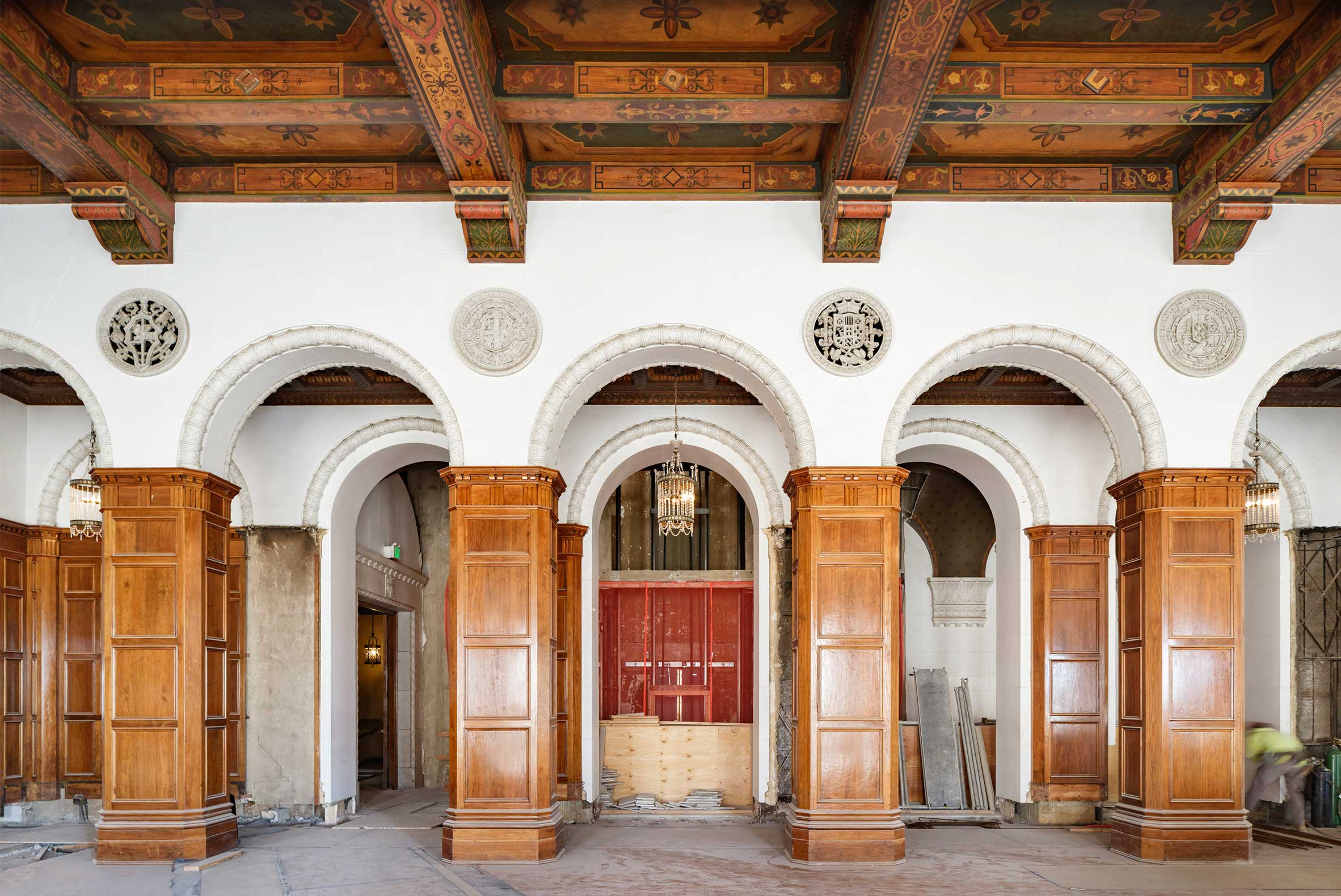 Historic Ballroom Renovation of The MacArthur with Painted Ceiling and Wooden Columns