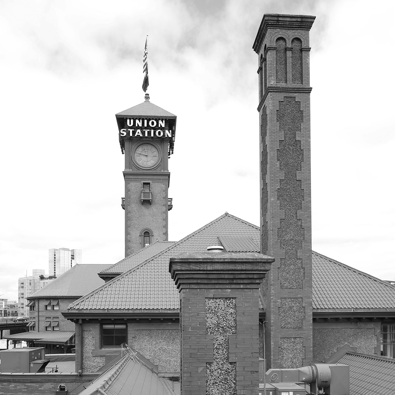URM Building Portland Union Station with Sign in Black and White with Towers