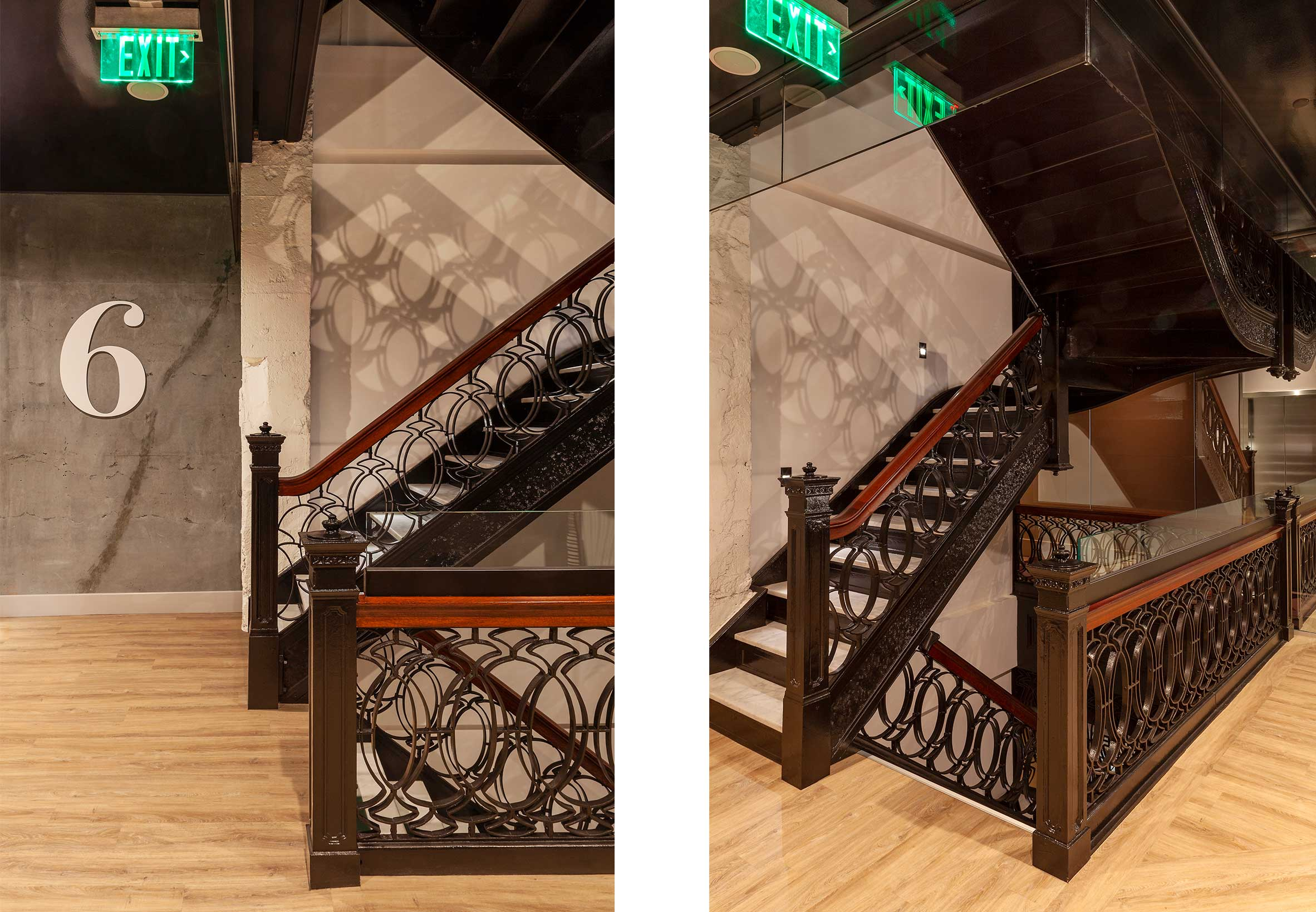 Historic egress stair at Yotel San Francisco