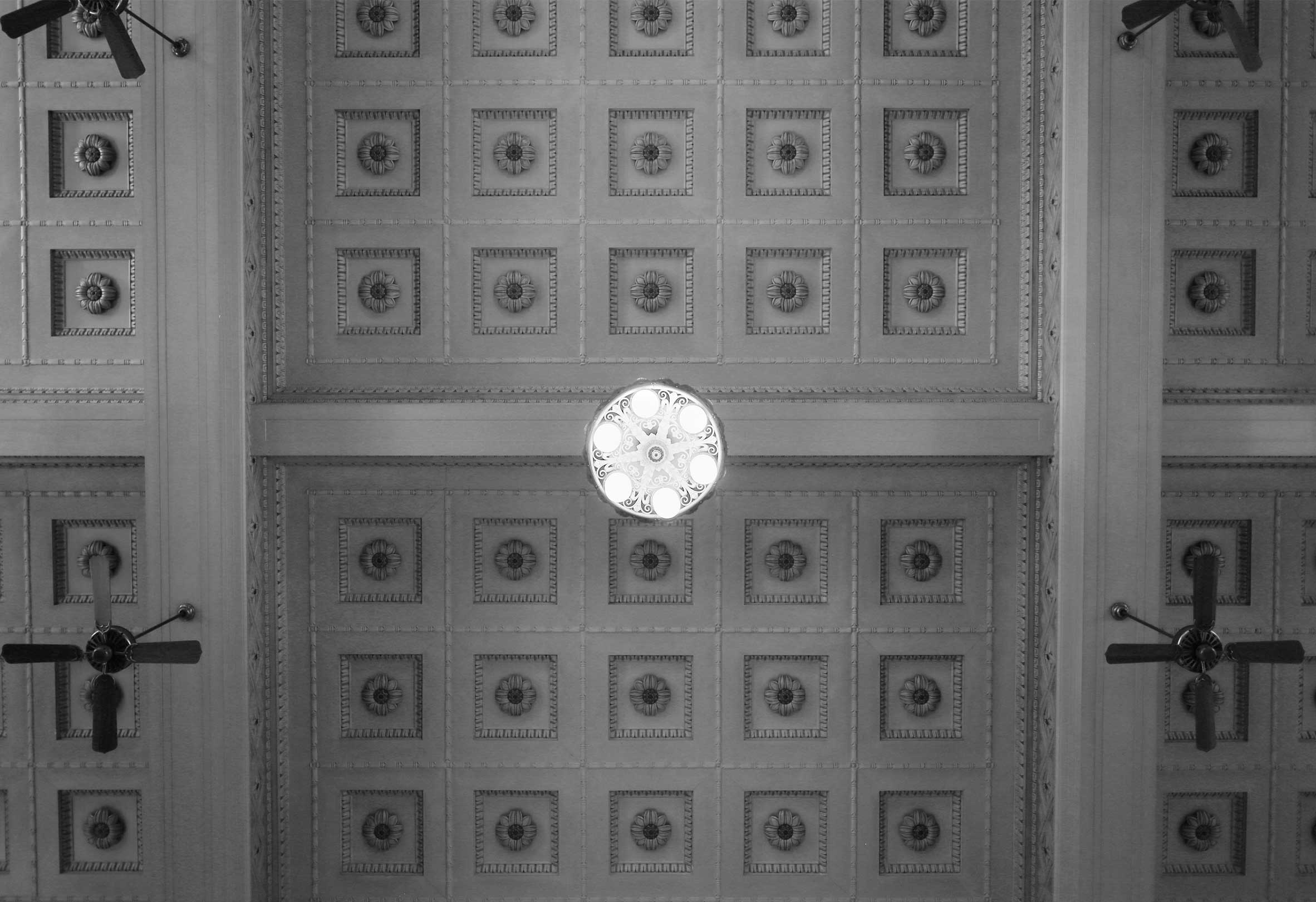 Portland Union Station Historic Moulded Ceiling with Chandelier in Black and White