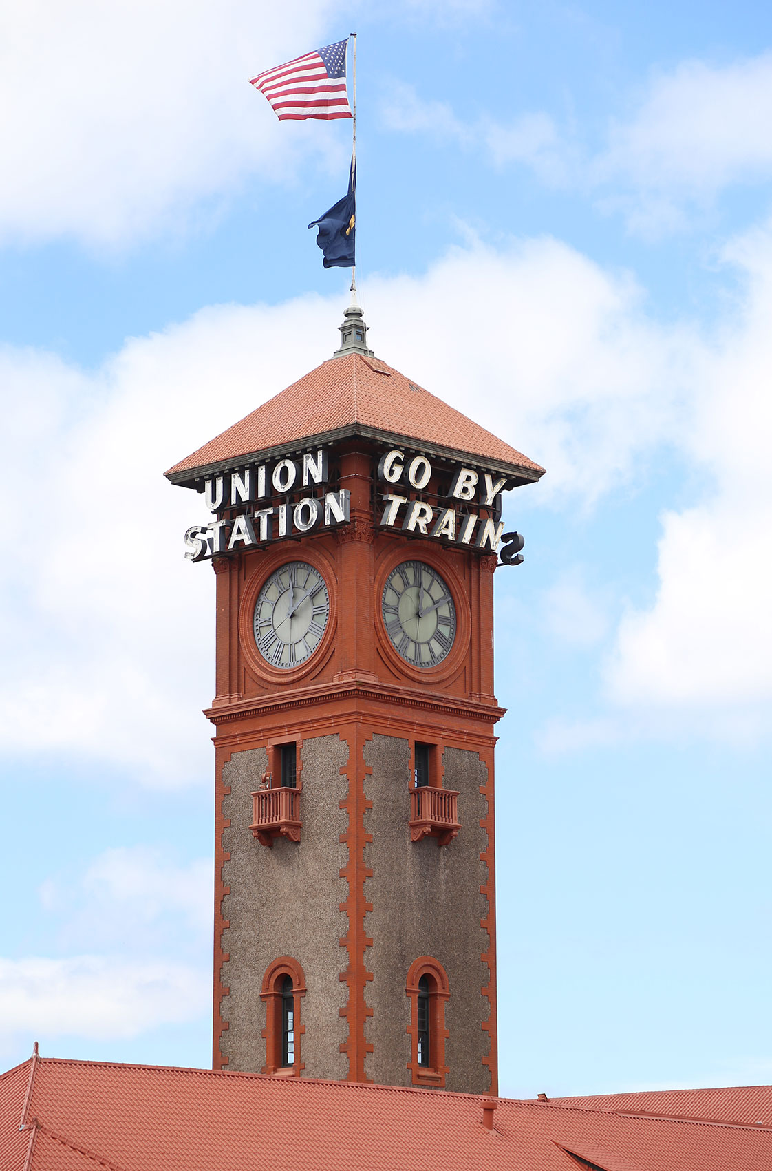 Portland Union Station Tower with Signs and Flags Portland Oregon