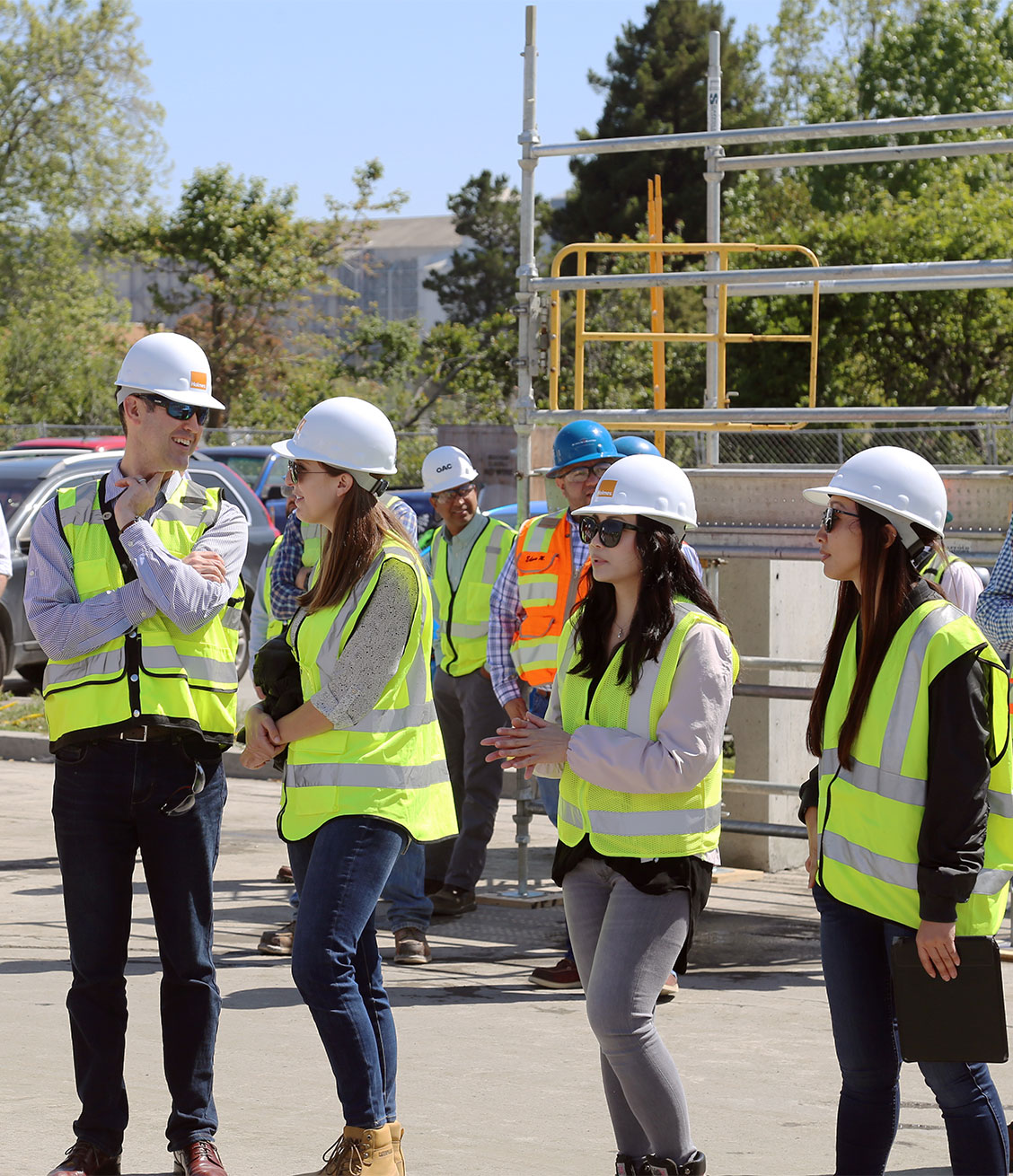 Holmes women engineers onsite with CEO at mass timber project in Mountain View