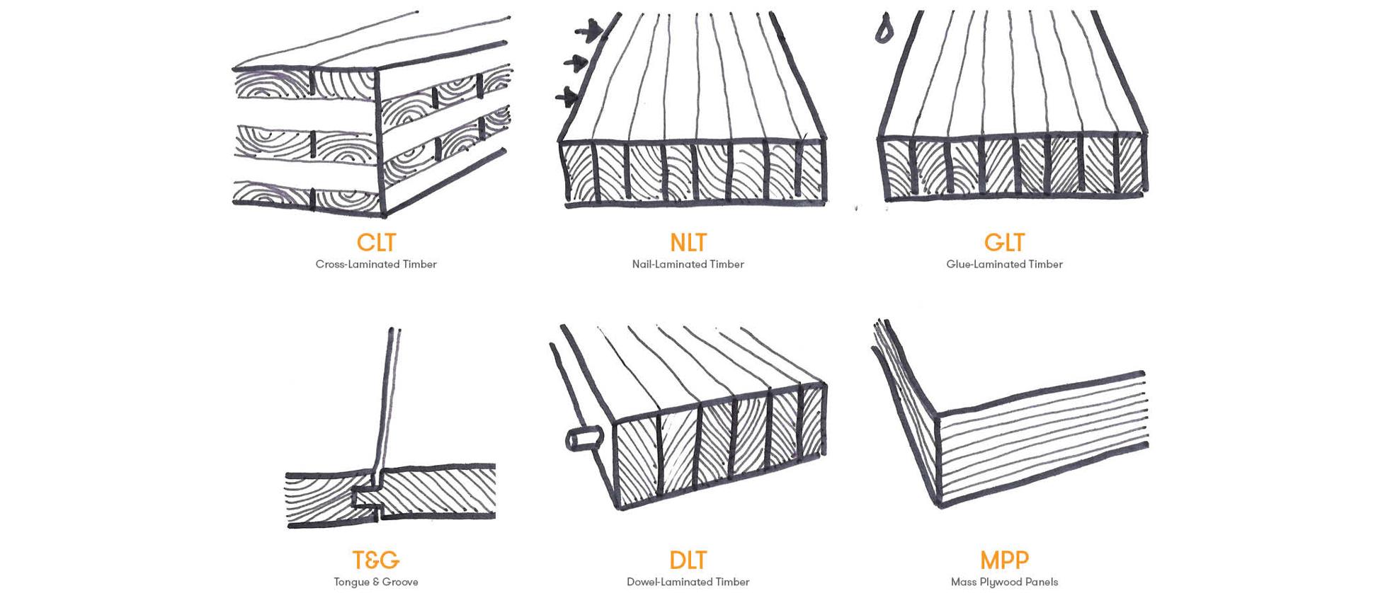 Common Mass Timber Construction Types CLT NLT DLT GLT T&G MPP