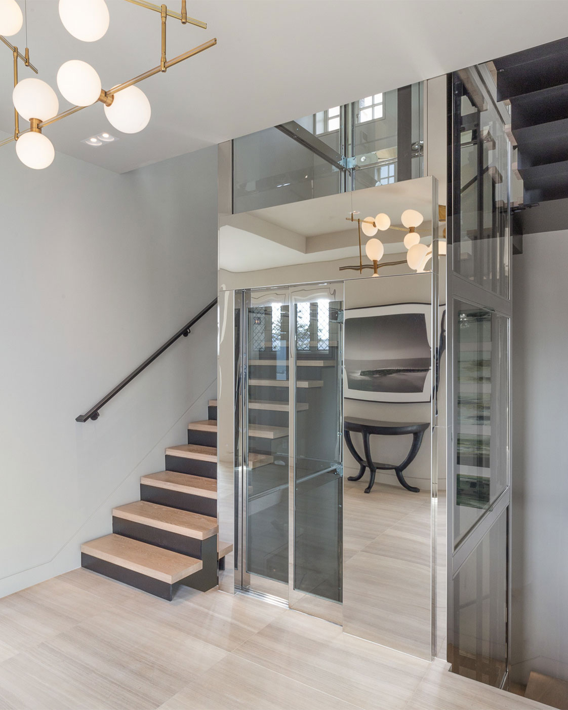 Residential Glass-Enclosed Elevator at Residence 950 Interior San Francisco California