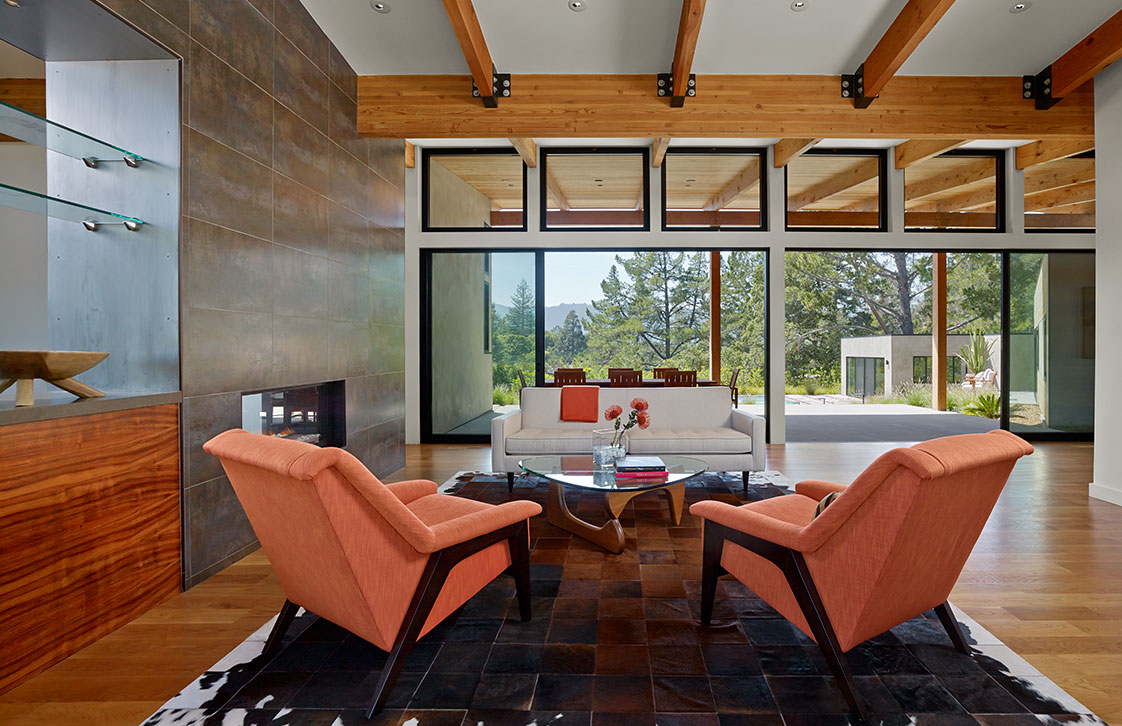 Custom Home Interior with Exposed Wood Beams in Portola Valley California