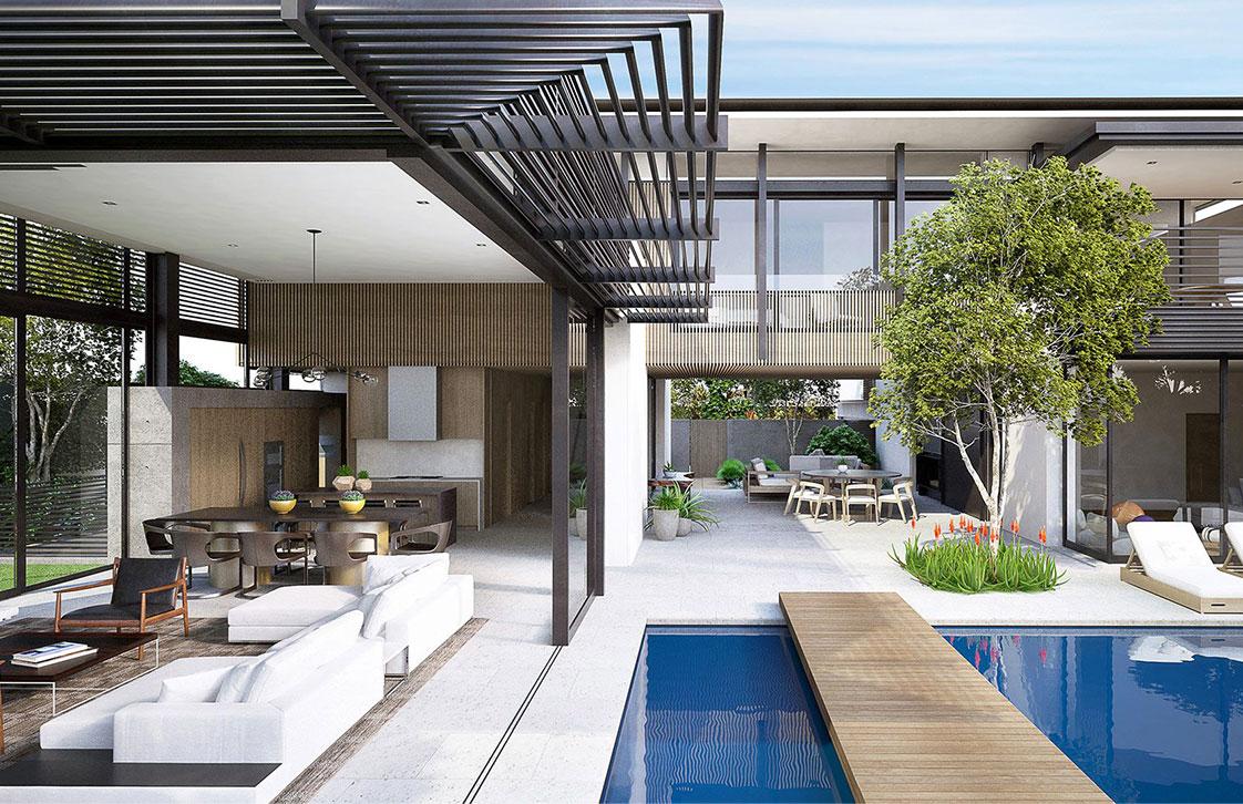 Architectural Rendering of Custom Home in Santa Monica California