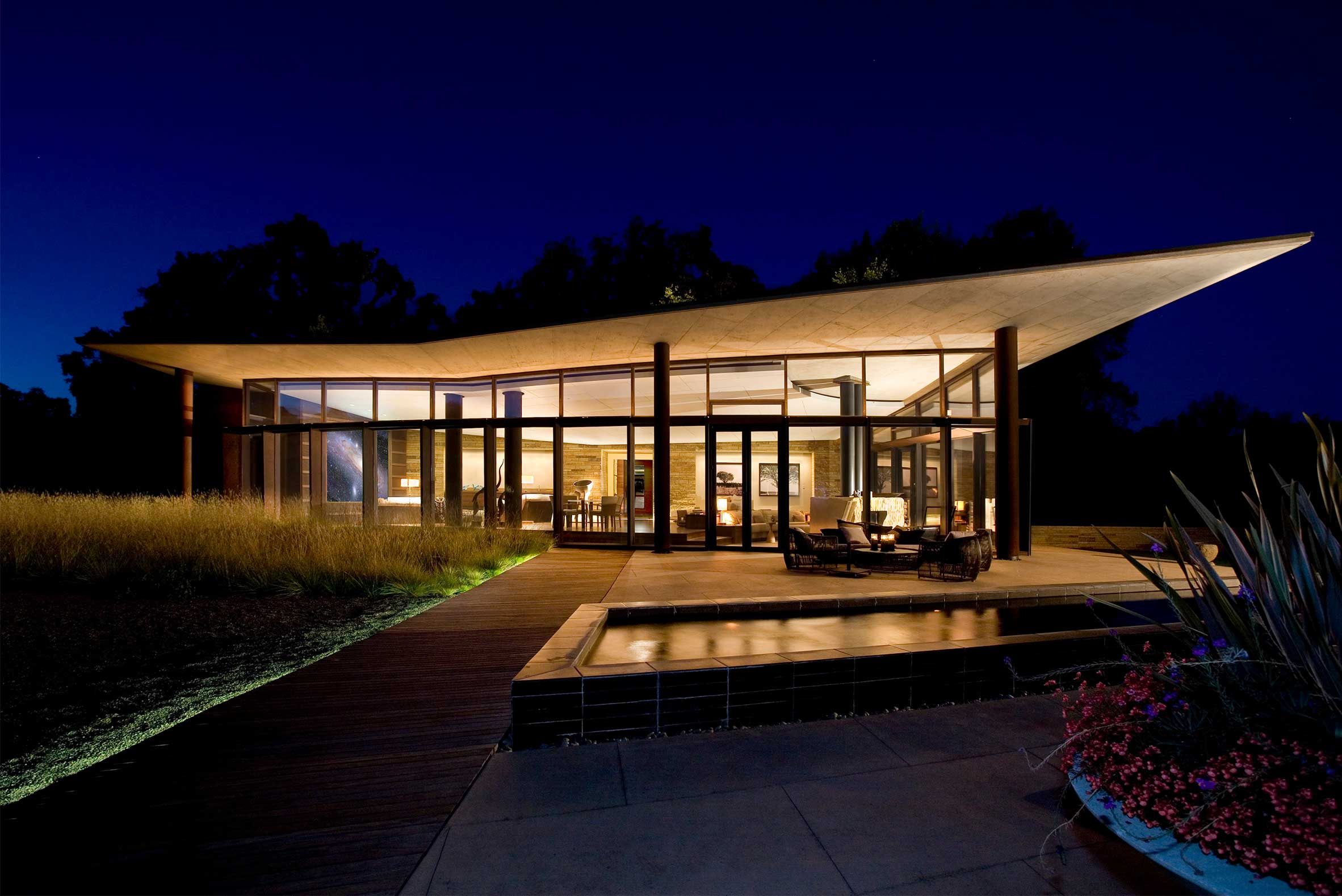 Dramatic Butterfly Roof at Night with Glowing Interior at Zen Spa in Sonoma Wine Country California