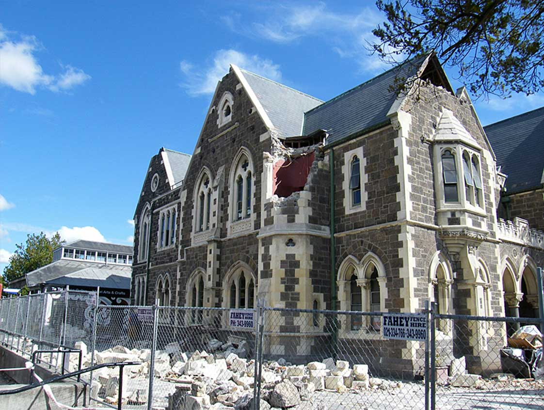 Damage to Unreinforced Masonry Building after Canterbury Earthquake in Christchurch New Zealand