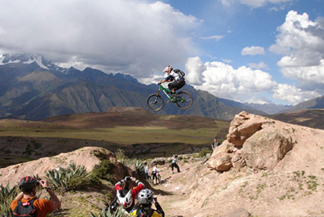 Bevan Jones Midjump on Dirt Bike Bicyclist