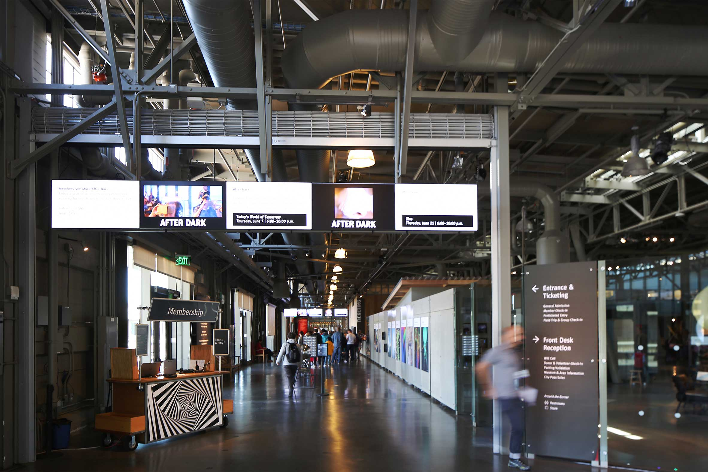 Exploratorium Entrance at San Francisco Embarcadero with Visitors