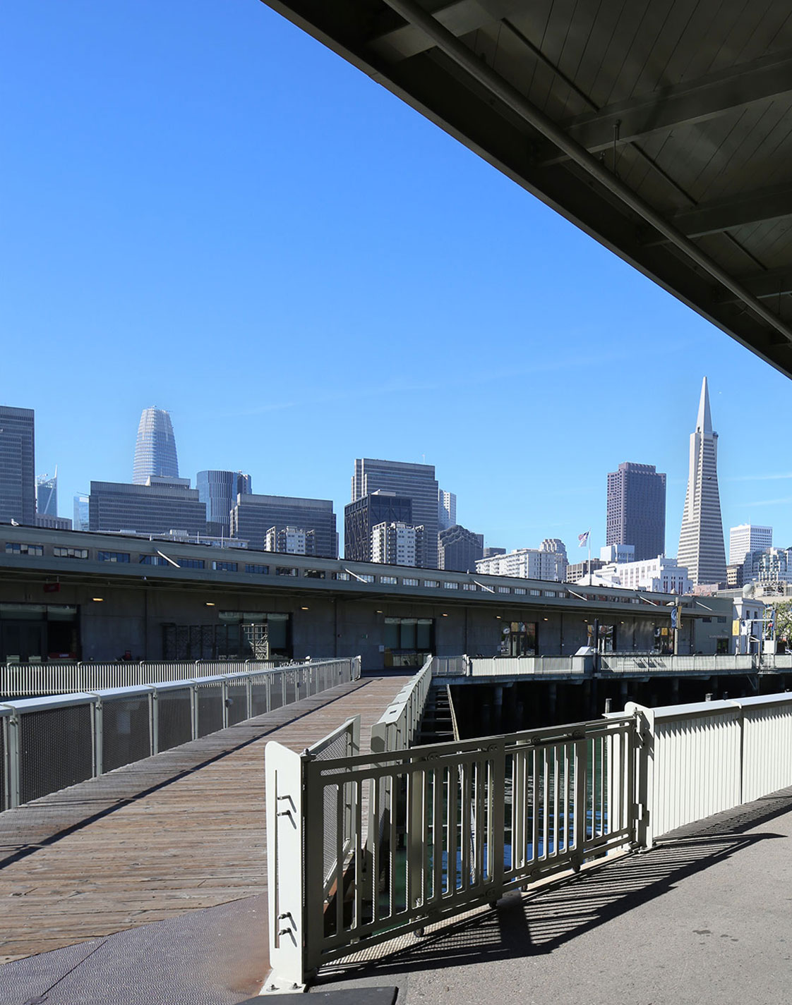 San Francisco Piers 15 17 Exploratorium Egress Path and Skyline Transamerica Pyramid Building