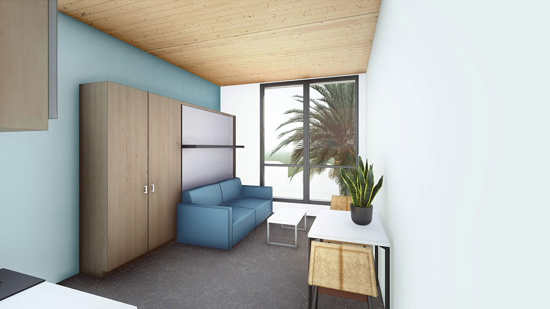 Exposed CLT mass timber ceiling in affordable apartment unit California