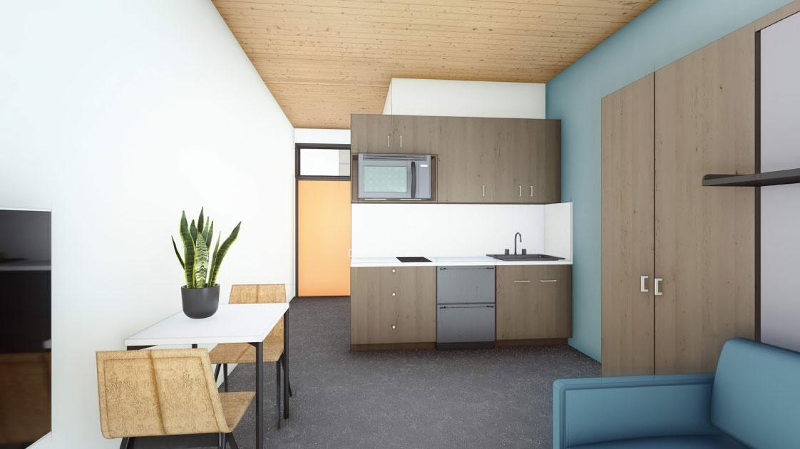 Interior of Mass Timber Apartment with CLT Ceiling Kitchen Sacramento California