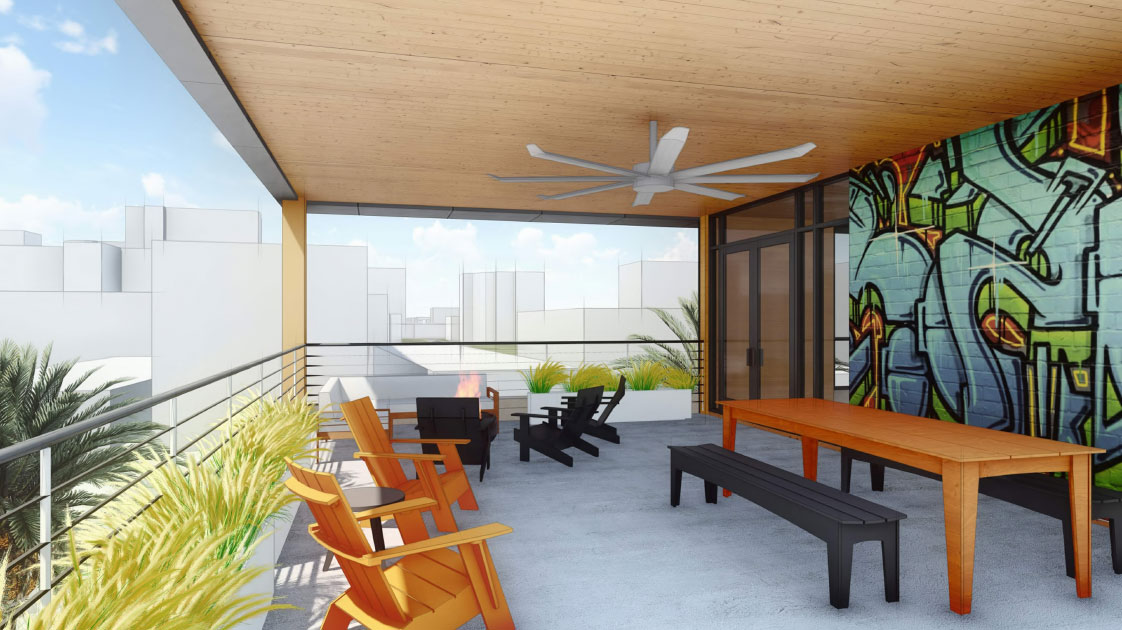 Mass Timber Mult-Family Housing Deck and Balcony with Exposed CLT in Sacramento California