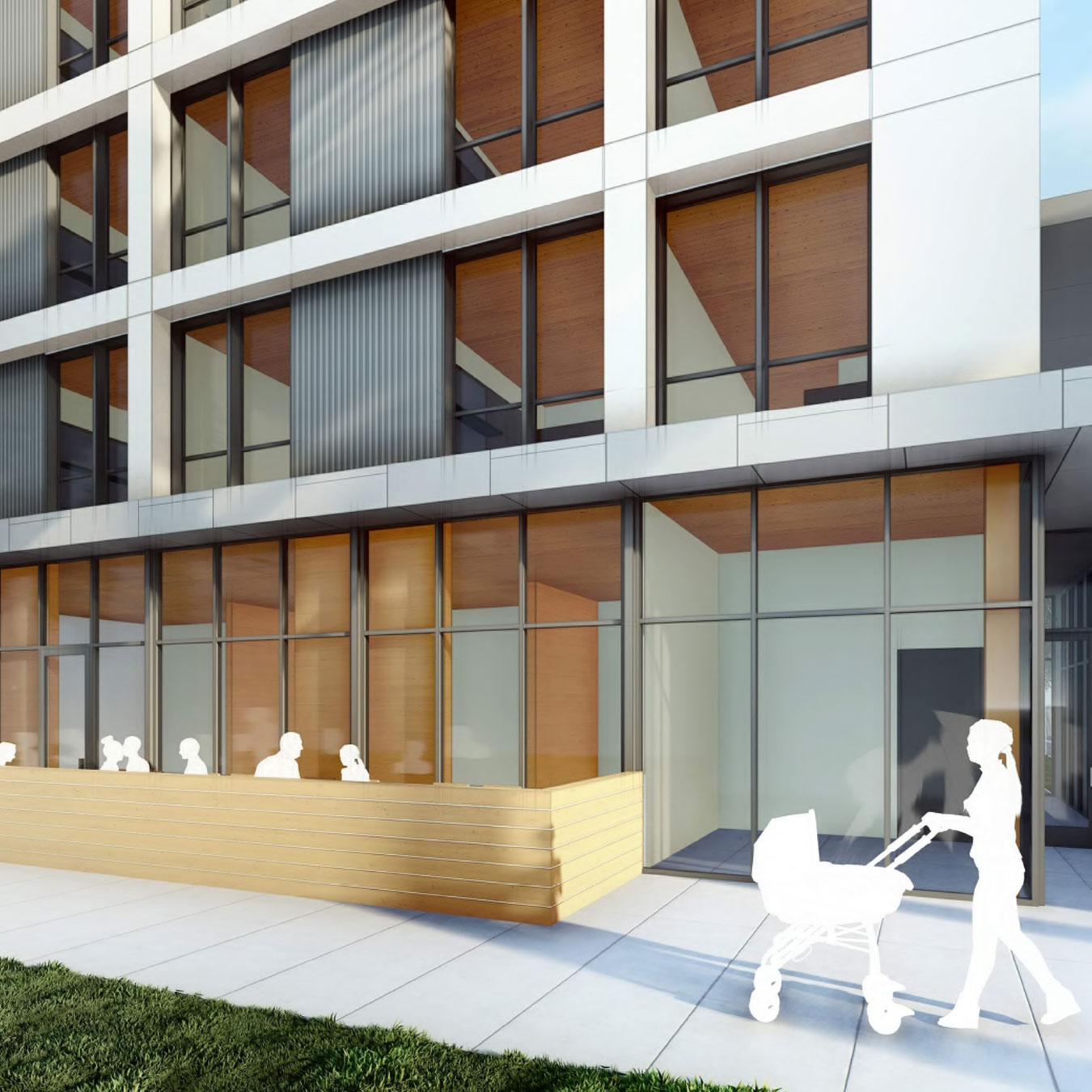 Courtyard Apartments Affordable Housing with Mass Timber in Sacramento California with Retail and Cafe