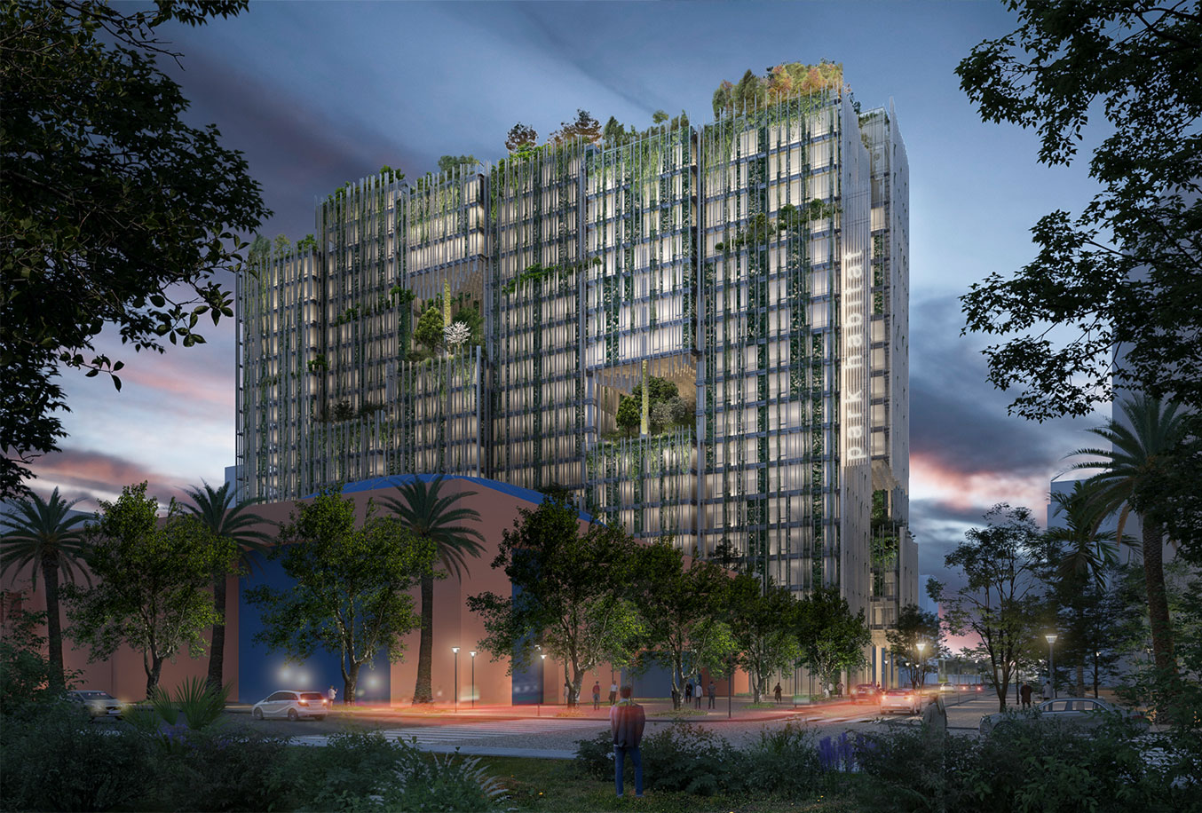 Park Habitat Westbank Development San Jose Sustainable High-Rise Rendering by Kengo Kuma and Associates