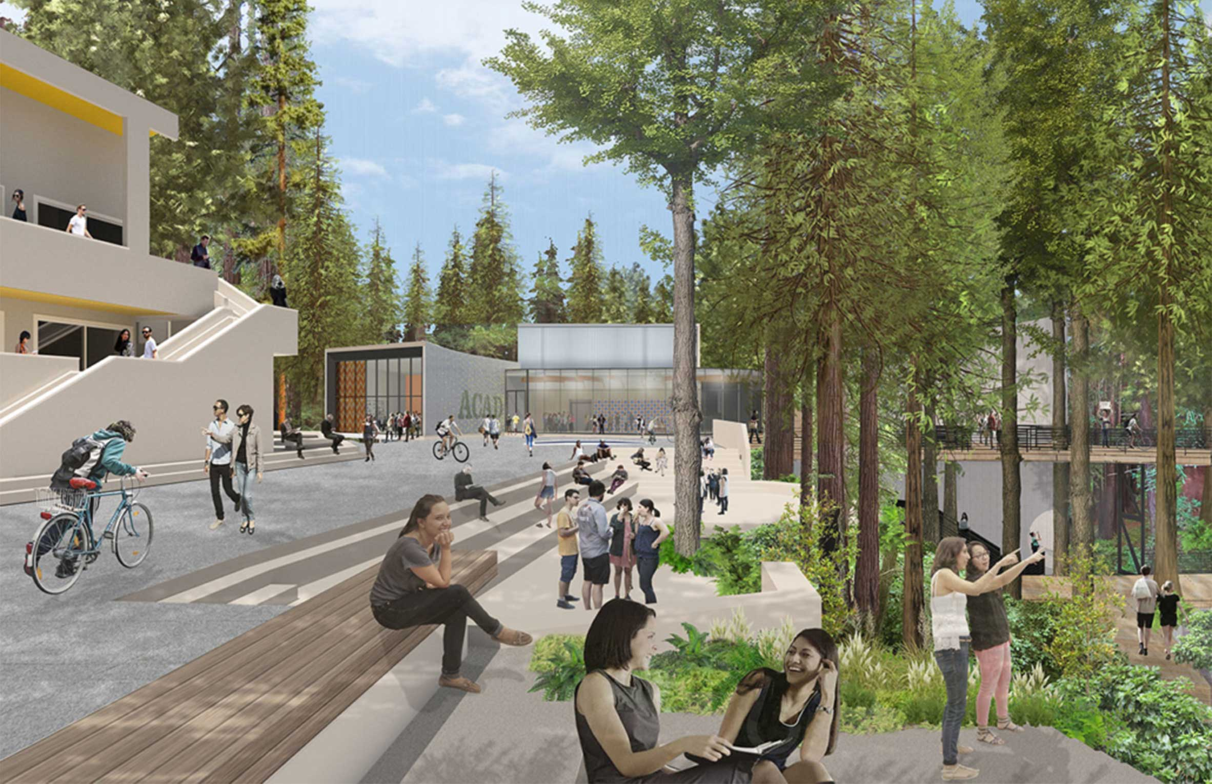 UC Santa Cruz Kresge College Students in Plaza by Redwoods with Mass Timber Components