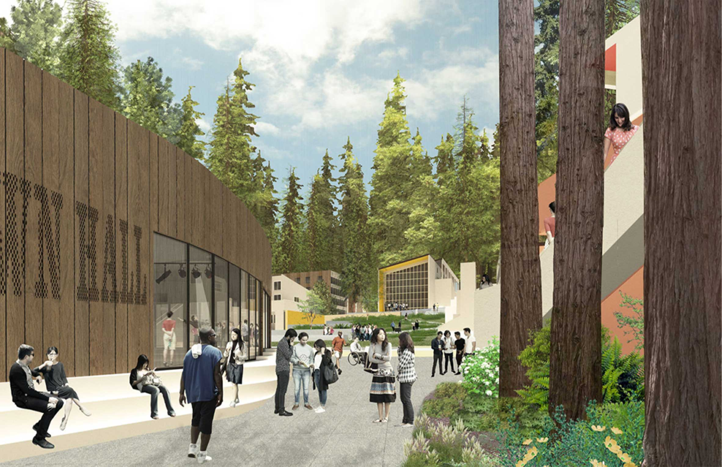 UC Santa Cruz Kresge College Renewal Breezeway with Redwoods Mass Timber and Students