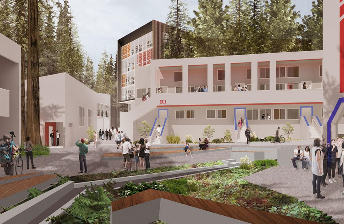 UC Santa Cruz Kresge Existing Buildings Plaza Students Redwood
